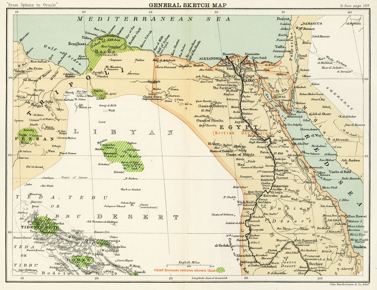 Maps of egypt libya arthur silva whites map of the egyptian and libyan oases of 1899 gumiabroncs Gallery